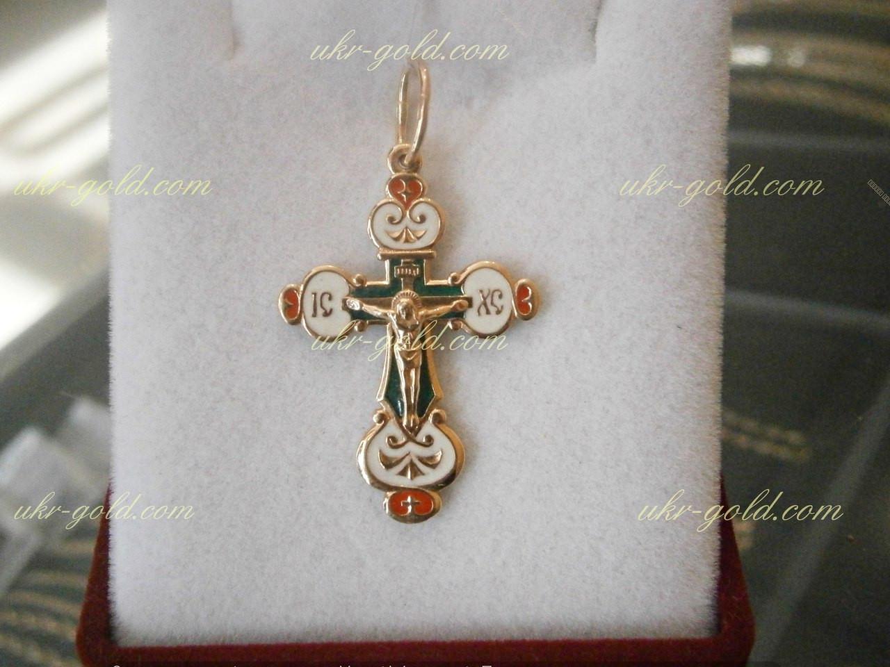 Золотой крестик со вставками эмали