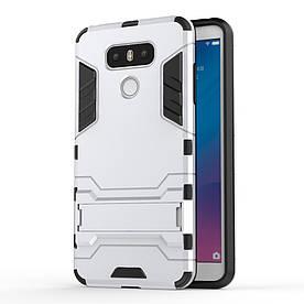 Чехол накладка для LG G6 H870 противоударный силиконовый с пластиком, Alien, серебристый