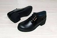 Кожаные туфли с лаковой вставкой на небольшом каблуке, фото 1