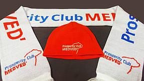 вязанные шарфы и шапки клуба медведь, шарфы с логотипом