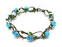 Венок из цветов для волос Розы голубые