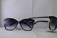 Женские очки с черными линзами со стразами