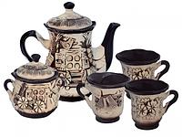 Набор чайный 8 предметов Ажур (чайник, сахарница, 6 чашек)