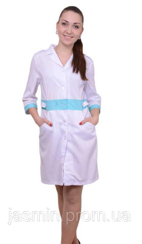 bd7b3814aed64 Приталенный медицинский халат с цветными вставками - Интернет магазин  одежды Жасмин. в Хмельницком