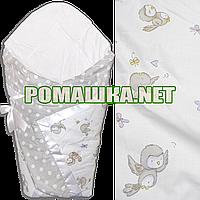 Летний конверт-одеяло 75Х75 для выписки из роддома верх и подкладка хлопок внутри синтепон 3077 Серый