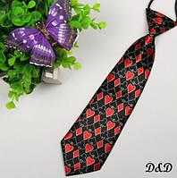 """Детский галстук красно-чёрный  """"Карточная масть"""""""