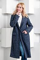 Модное демисезонное пальто ниже колен трикотажное цвета меланж (2 расцветки)