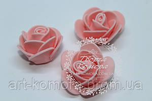 Головка розы латексная персиковая, 3,5 см