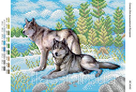 """Схема для часткової вишивки бісером """"Вовки на снігу (част. вишгорода.)"""""""