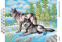 """Схема для частичной вышивки бисером """"Волки на снегу   (част.  выш.)"""""""