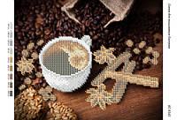 """А4 """"Кофе  (част.  выш.)"""" схема для частичной вышивки бисером"""