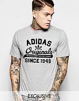 Трикотажная футболка Adidas Originals 1949 Адидас серая (большой принт)