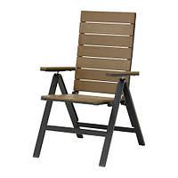 """IKEA """"ФАЛЬСТЕР"""" Садовое кресло/регулируемая спинка, черный складной, коричневый"""