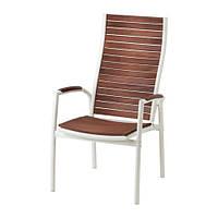 """IKEA """"ВИНДАЛЬШЁ"""" Садовое кресло/регулируемая спинка, белый, коричневая морилка"""