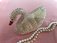 Металлическая шкатулка со стразами Лебедь
