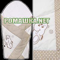 Летний конверт-одеяло 75Х75 для выписки из роддома верх и подкладка хлопок внутри синтепон 3077 Бежевый