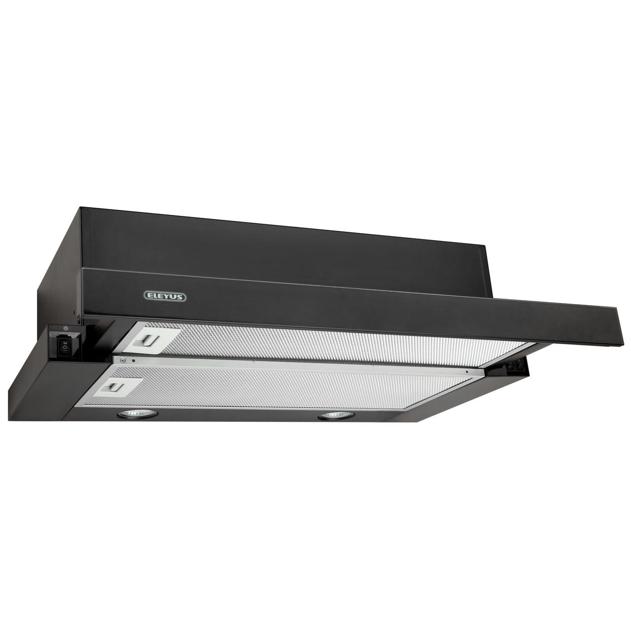 Витяжка кухонна телескопічна ELEYUS Storm G 700 LED SMD 60 BL (чорна) (скляна панель)