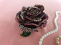 Металлическая шкатулка со стразами Роза