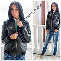Женская куртка из эко-кожи на молниях