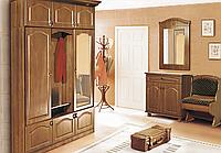 Прихожая Лотос с элементами фрезерования, тумбой для обуви,  тумбочка с ящиком, вешалка, зеркало. лавка, комод