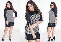 Женское стильное платье MINI 166 / батал / черный+крупная гусиная лапка