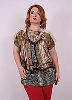 Женская футболка большого размера Жилет 1638, недорогие женские футболки