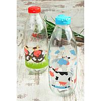 Стеклянная бутылка для молока с декором, пластиковой крышкой, 1 л, TM Miradan