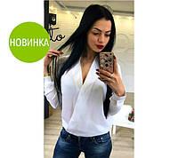 Акция! Женская блузка длиный рукав, в наличии 6 цветов, размеры 42-48, шифон!