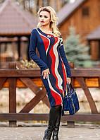 Стильное трикотажное платье с волнообразным принтом (р-ры 3XL, 4XL)