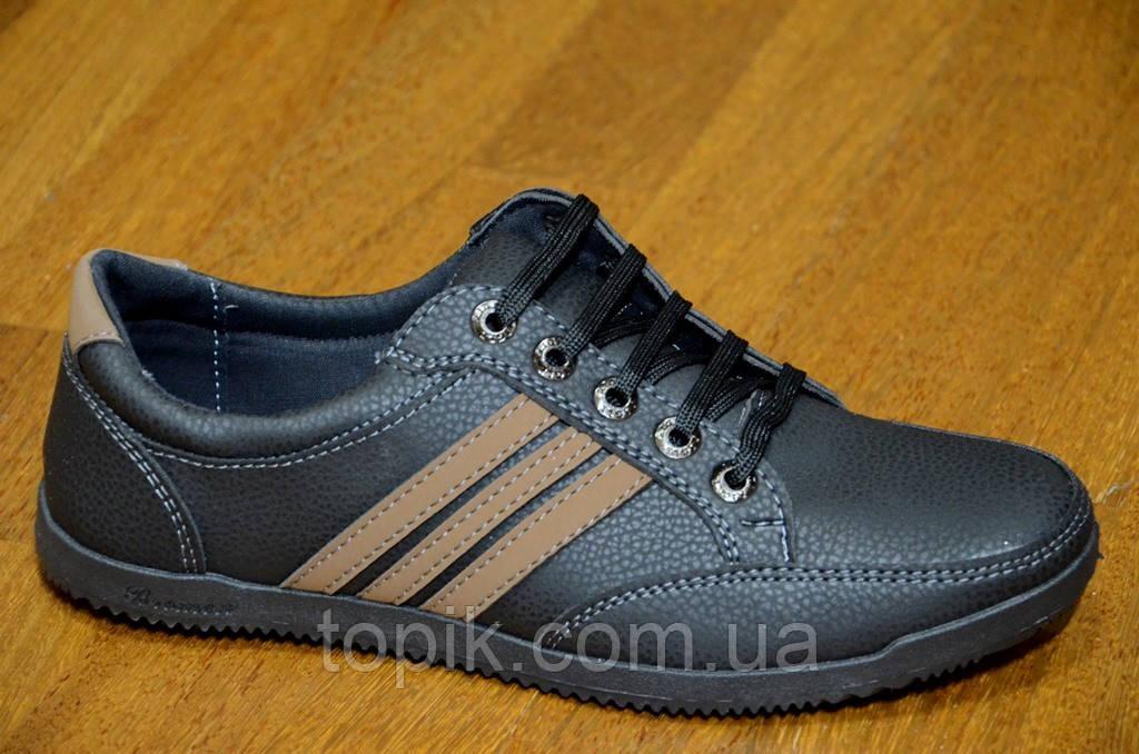 Мужские повседневные туфли черные удобные искусственная кожа Львов. (Код: 492а)