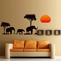 Интерьерная виниловая наклейка Слоны Африка