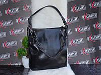 Черная женская КОЖАНАЯ сумка с цепочкой.