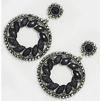 Сережки вечерние черные кольца