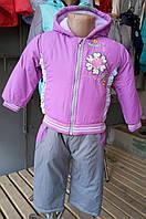 Демисезонный костюм с комбинезоном на флисе для малютки (рост 74-86)