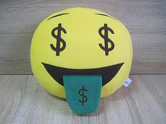 Подушка - игрушка Эмодзи Emoji Смайл доллары, ручная работа