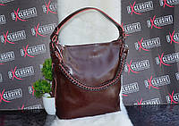 Коричневая женская КОЖАНАЯ сумка с цепочкой., фото 1