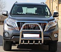 Защита переднего бампера кенгурятник из нержавейки на Toyota Prado 150 2013