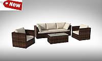 Комплект плетеной мебели  APERTO  IV диван 227 см +2 кресла +столик 110см
