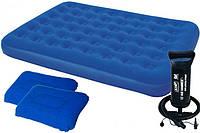 Надувной матрас двухспальный ортопедический Bestway 67374 + насос и две подушки 203 х 152 х 22 см