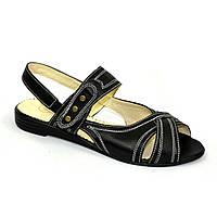 Женские кожаные черные босоножки на низком ходу. 39 размер