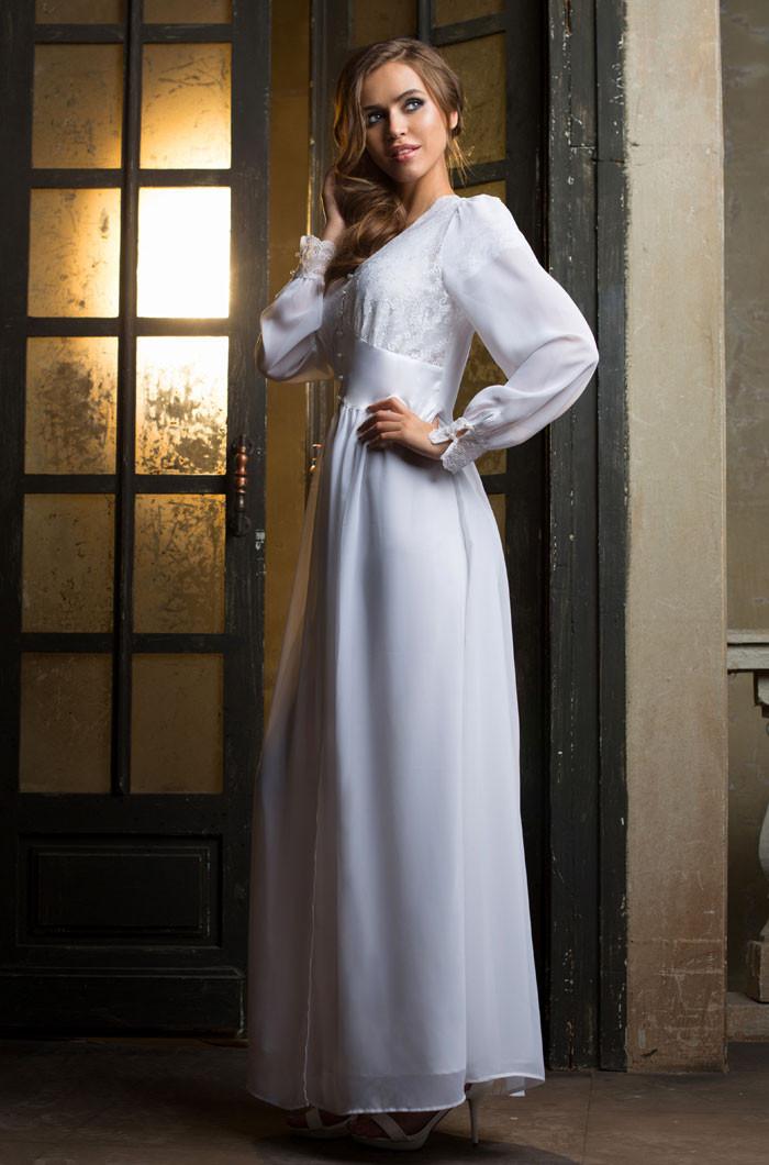 "Длинный и воздушный халат. Италия Mia-Mia 17259 ""Lady in white"""