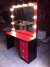 Гримерный стол красного цвета с лампами