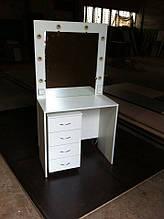 Стол для визажиста с тумбой, гримерный столик с лампами