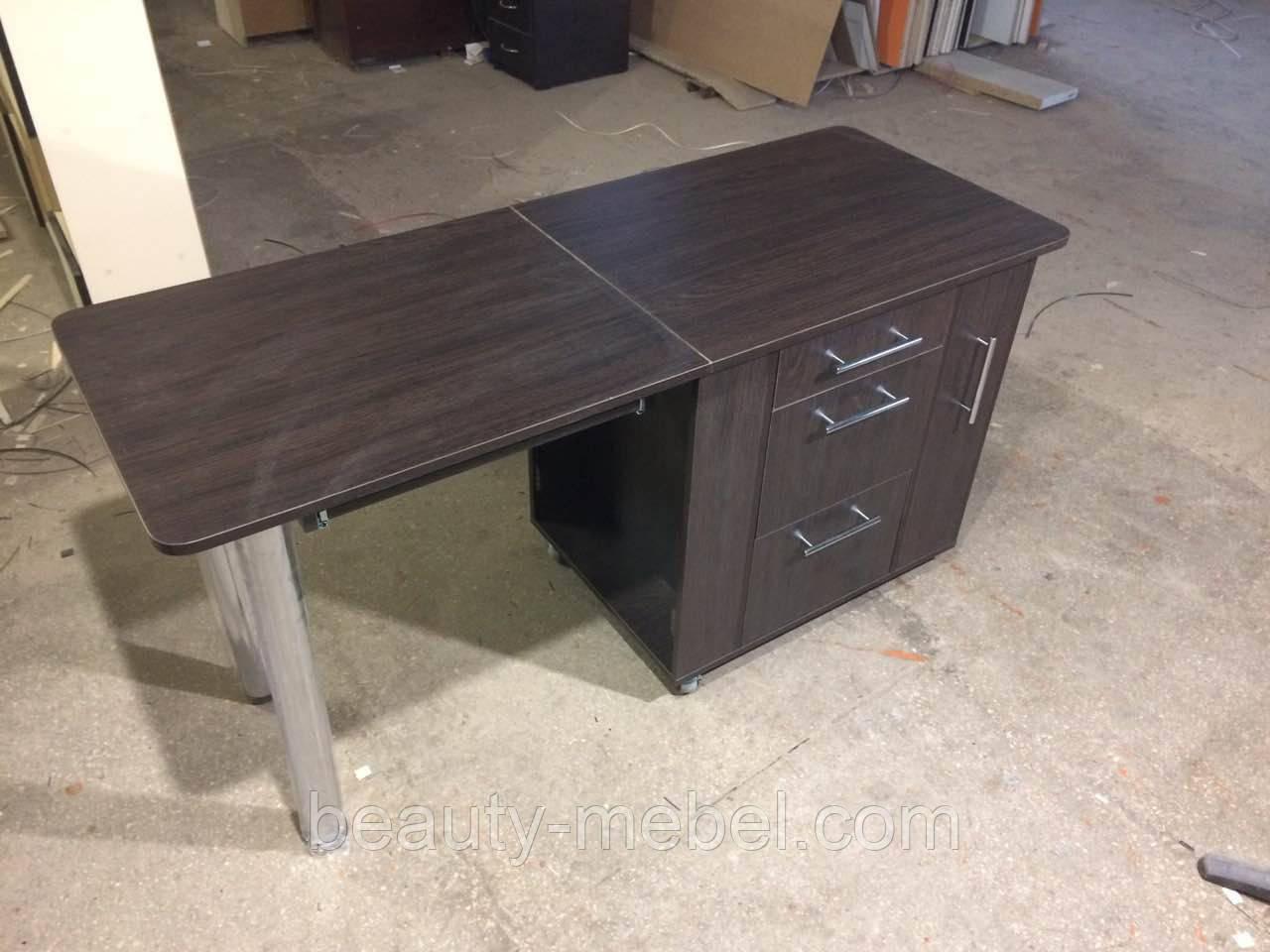 Складной маникюрный стол с выдвижными ящиками для лаков