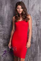 Платье - майка на бретелях красное 044