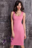 Платье - майка на бретелях розовое 044