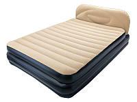 Двухспальная надувная флокированная кровать Bestway 67483, бежевая, 226 х 152 х 74 см , фото 1