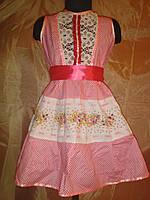 Сатиновое платье розового и синего цвета на девочку