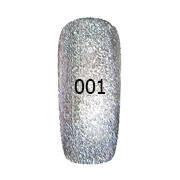 Гель-лак FOX Platinum № 001 (серебристый с блёстками),12 мл