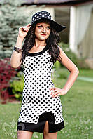 Черно-белое женское летнее платье в горошек Марго Luzana 44-50 размеры